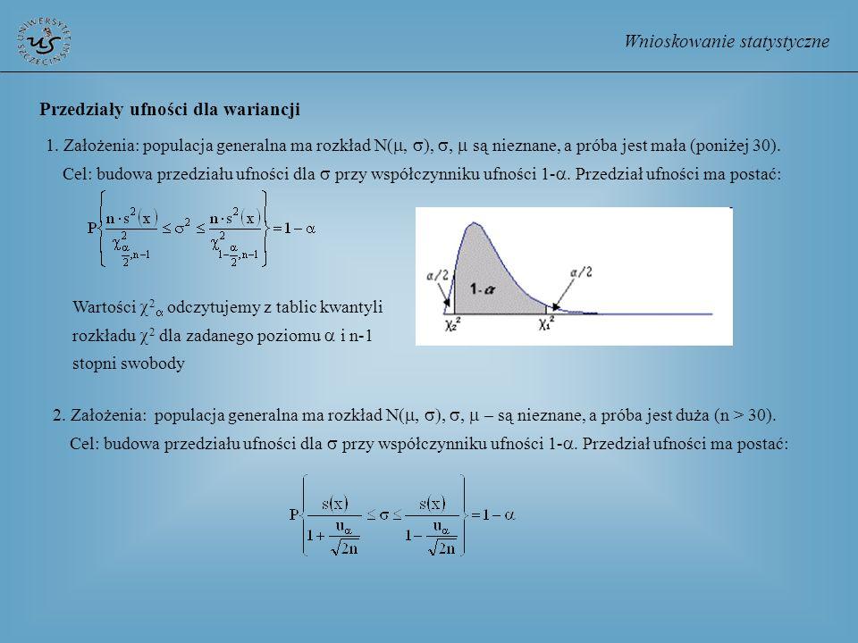 Wnioskowanie statystyczne Przedziały ufności dla wariancji 1. Założenia: populacja generalna ma rozkład N(, ), są nieznane, a próba jest mała (poniżej