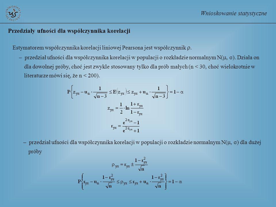 Wnioskowanie statystyczne Przedziały ufności dla współczynnika korelacji Estymatorem współczynnika korelacji liniowej Pearsona jest współczynnik. – pr