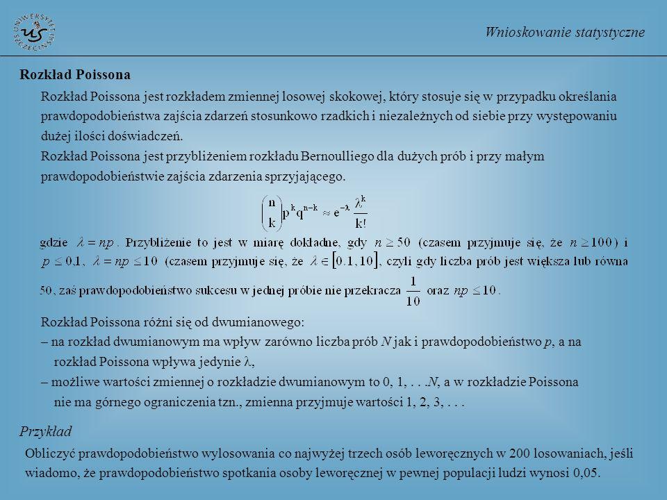Wnioskowanie statystyczne Rozkład Poissona Rozkład Poissona jest rozkładem zmiennej losowej skokowej, który stosuje się w przypadku określania prawdop