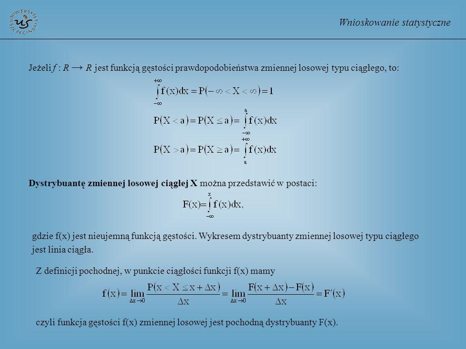 Wnioskowanie statystyczne Dystrybuantę zmiennej losowej ciągłej X można przedstawić w postaci: gdzie f(x) jest nieujemną funkcją gęstości. Wykresem dy