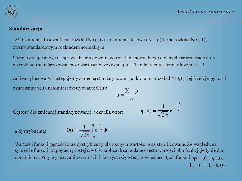 Wnioskowanie statystyczne Standaryzacja polega na sprowadzeniu dowolnego rozkładu normalnego o danych parametrach i σ do rozkładu standaryzowanego o w