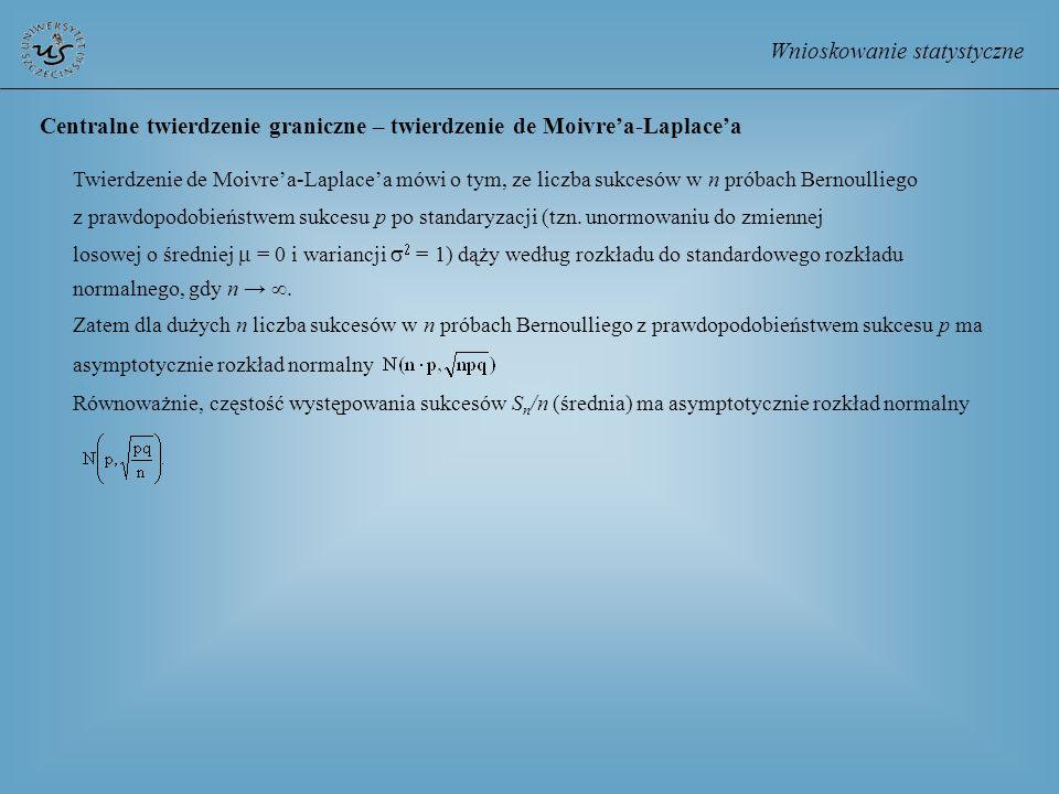Wnioskowanie statystyczne Centralne twierdzenie graniczne – twierdzenie de Moivrea-Laplacea Twierdzenie de Moivrea-Laplacea mówi o tym, ze liczba sukc