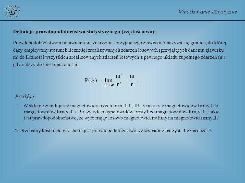 Wnioskowanie statystyczne Definicja prawdopodobieństwa statystycznego (częstościowa): Prawdopodobieństwem pojawienia się zdarzenia sprzyjającego zjawi