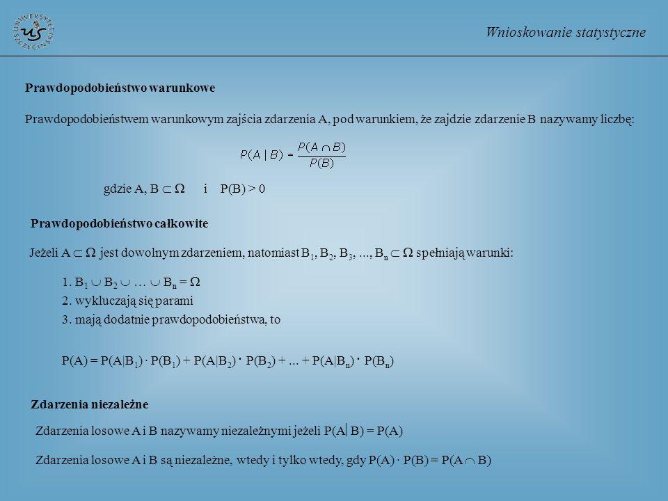 Wnioskowanie statystyczne Prawdopodobieństwo warunkowe Prawdopodobieństwem warunkowym zajścia zdarzenia A, pod warunkiem, że zajdzie zdarzenie B nazyw