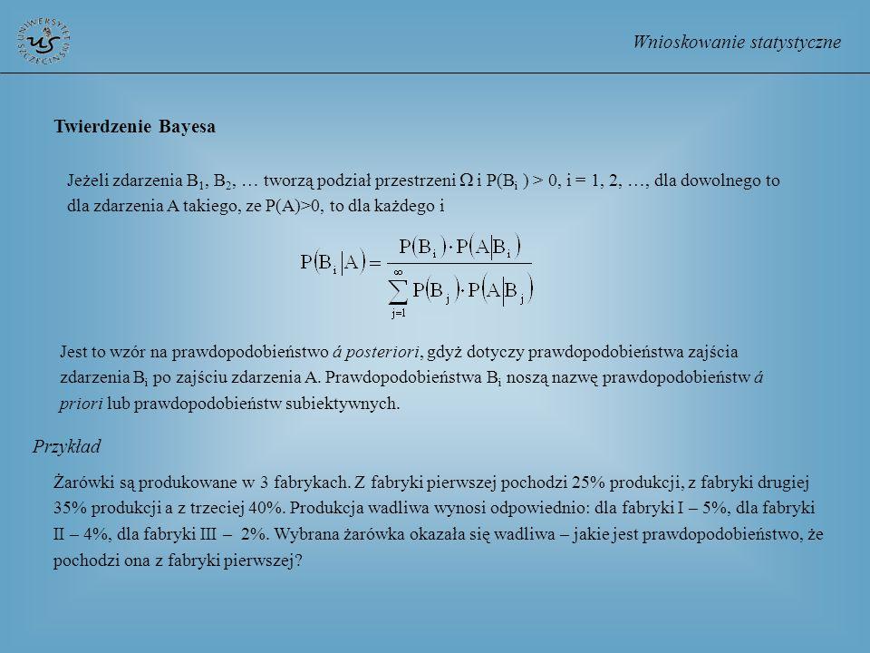 Wnioskowanie statystyczne Twierdzenie Bayesa Jeżeli zdarzenia B 1, B 2, … tworzą podział przestrzeni i P(B i ) > 0, i = 1, 2, …, dla dowolnego to dla