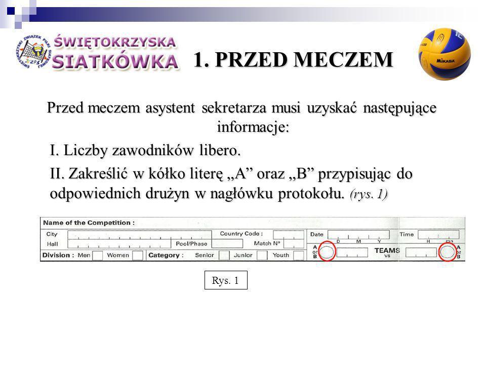 1. PRZED MECZEM Przed meczem asystent sekretarza musi uzyskać następujące informacje: I.