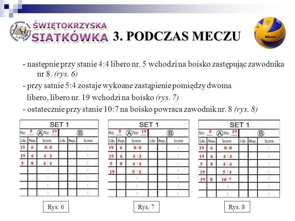 3. PODCZAS MECZU - następnie przy stanie 4:4 libero nr.