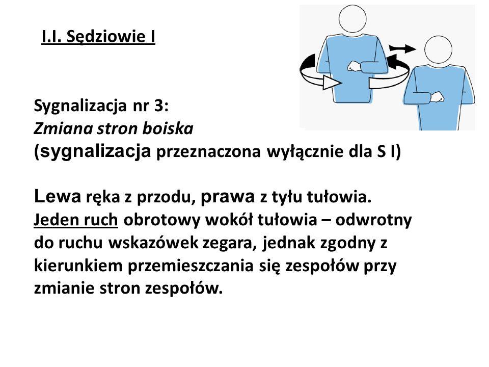 Sygnalizacja nr 4: Przerwa na odpoczynek (dwa sygnały: T + wskazanie zespołu) Po wykonaniu pierwszej części sygnalizacji sędziowie wskazują zespół, który poprosił o przerwę, przy czym: S II – wskazuje jedynie stronę (z wykorzystaniem sygnalizacji nr 2: Wskazanie zespołu, który wygrał akcję) S I – wskazuje ławkę zespołu I.I.