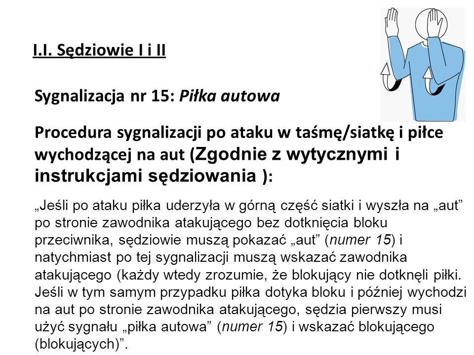 Sygnalizacja nr 15: Piłka autowa Procedura sygnalizacji po ataku w taśmę/siatkę i piłce wychodzącej na aut ( Zgodnie z wytycznymi i instrukcjami sędzi