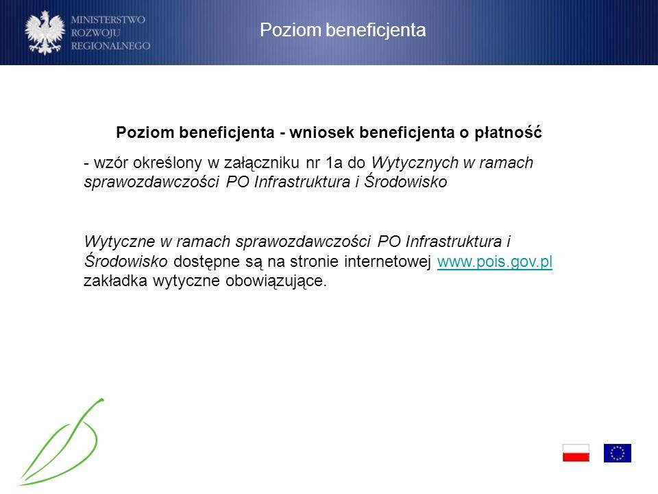 Poziom beneficjenta Poziom beneficjenta - wniosek beneficjenta o płatność - wzór określony w załączniku nr 1a do Wytycznych w ramach sprawozdawczości
