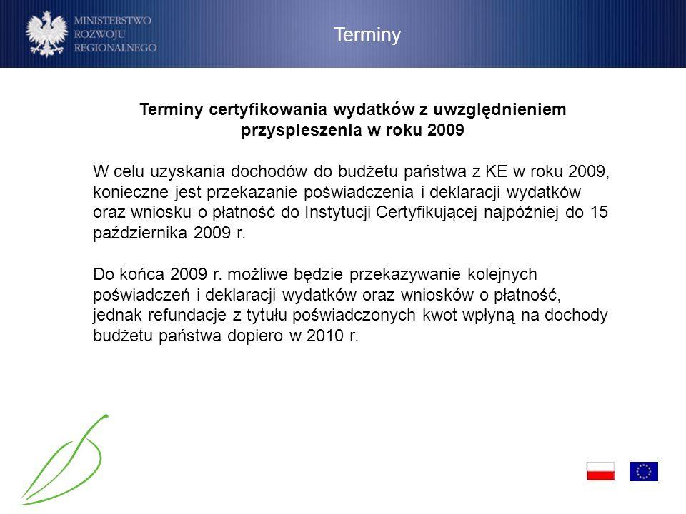 Terminy Terminy certyfikowania wydatków z uwzględnieniem przyspieszenia w roku 2009 W celu uzyskania dochodów do budżetu państwa z KE w roku 2009, kon