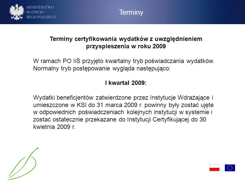 Terminy Terminy certyfikowania wydatków z uwzględnieniem przyspieszenia w roku 2009 W ramach PO IiŚ przyjęto kwartalny tryb poświadczania wydatków. No