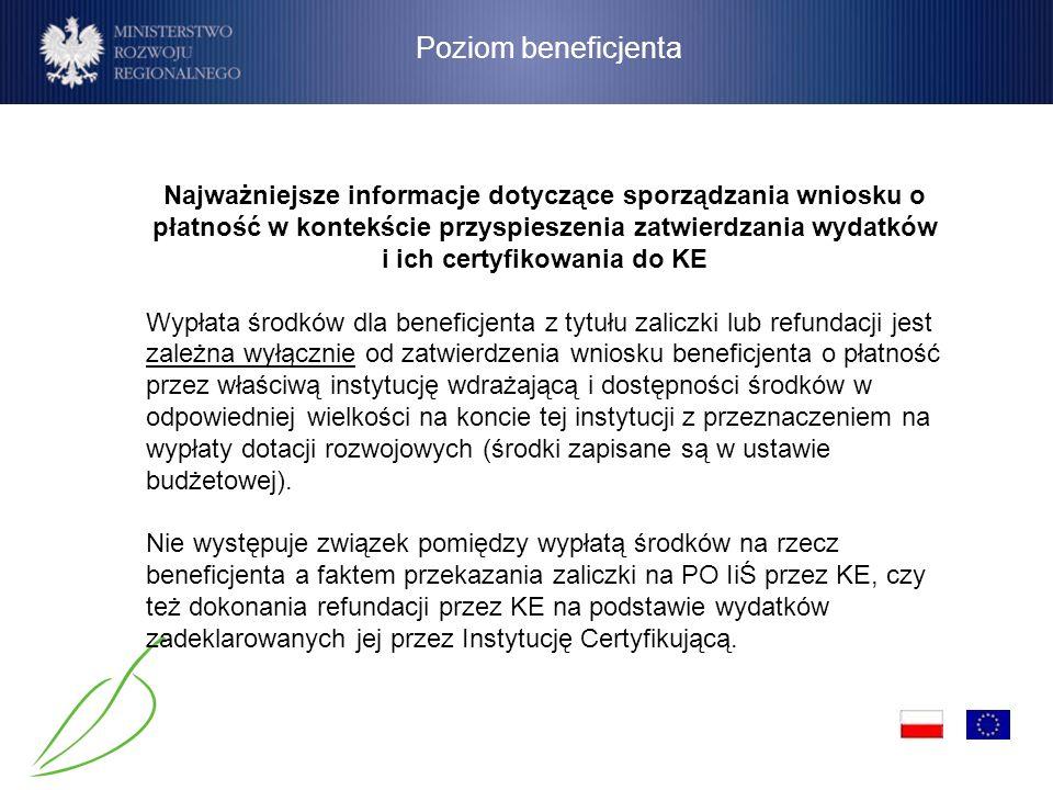 Podstawowe założenia (1) Poziom beneficjenta Najważniejsze informacje dotyczące sporządzania wniosku o płatność w kontekście przyspieszenia zatwierdza