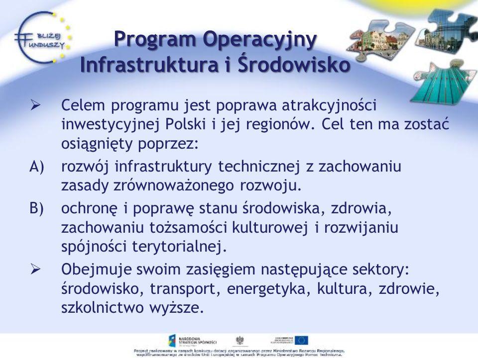 Program Operacyjny Infrastruktura i Środowisko Celem programu jest poprawa atrakcyjności inwestycyjnej Polski i jej regionów. Cel ten ma zostać osiągn