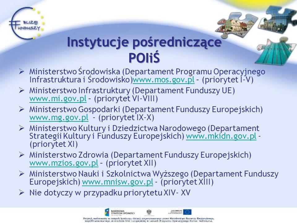 Instytucje pośredniczące POIiŚ Ministerstwo Środowiska (Departament Programu Operacyjnego Infrastruktura i Środowisko)www.mos.gov.pl – (priorytet I-V)