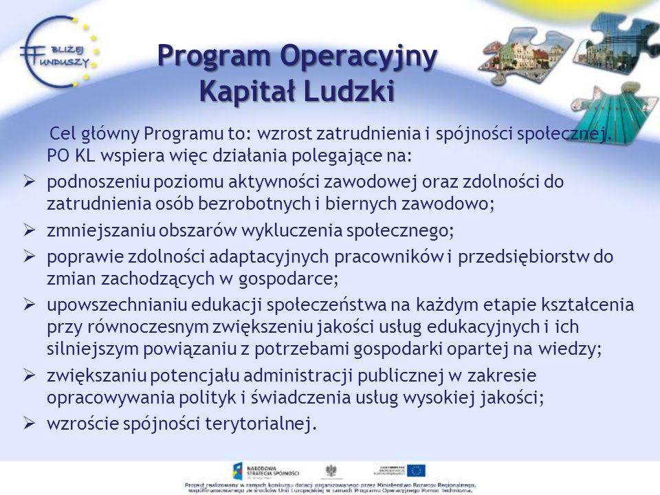 Program Operacyjny Kapitał Ludzki Cel główny Programu to: wzrost zatrudnienia i spójności społecznej. PO KL wspiera więc działania polegające na: podn