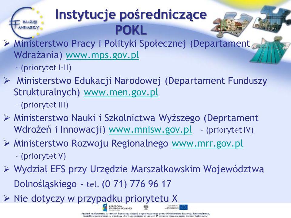 Instytucje pośredniczące POKL Ministerstwo Pracy i Polityki Społecznej (Departament Wdrażania) www.mps.gov.plwww.mps.gov.pl - (priorytet I-II) Ministe