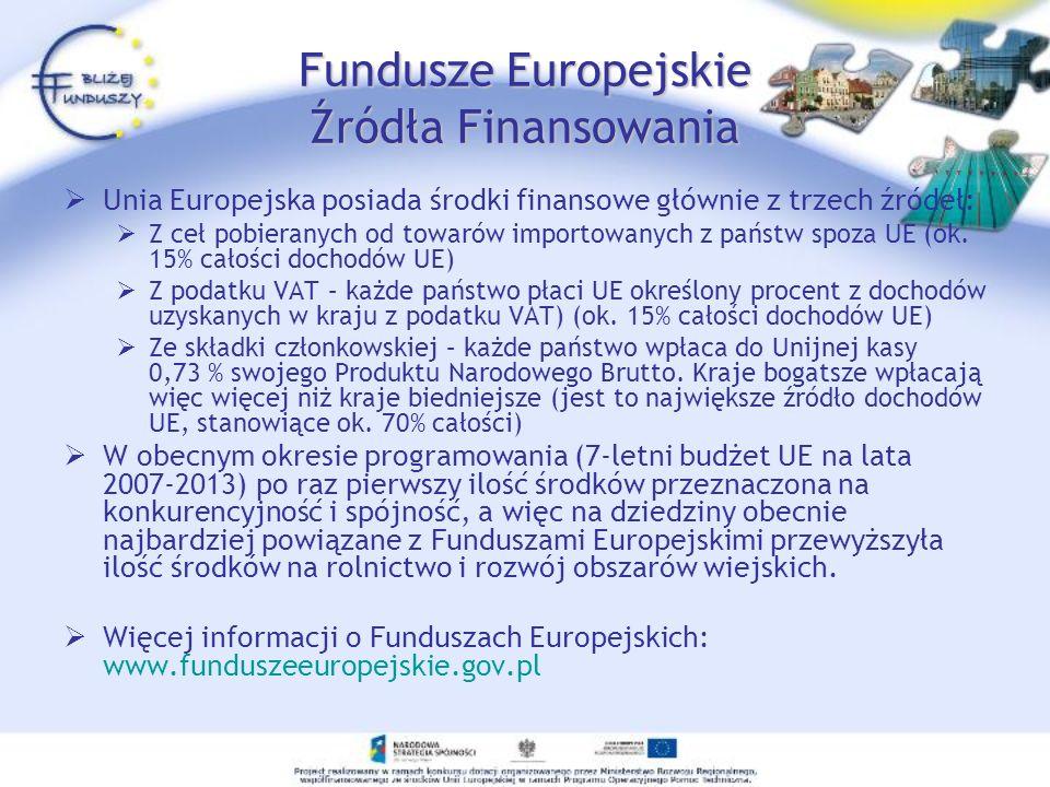 Fundusze Europejskie Źródła Finansowania Unia Europejska posiada środki finansowe głównie z trzech źródeł: Z ceł pobieranych od towarów importowanych