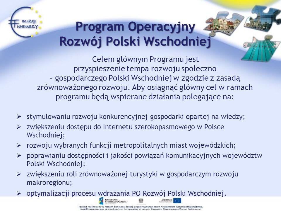 Celem głównym Programu jest przyspieszenie tempa rozwoju społeczno – gospodarczego Polski Wschodniej w zgodzie z zasadą zrównoważonego rozwoju. Aby os