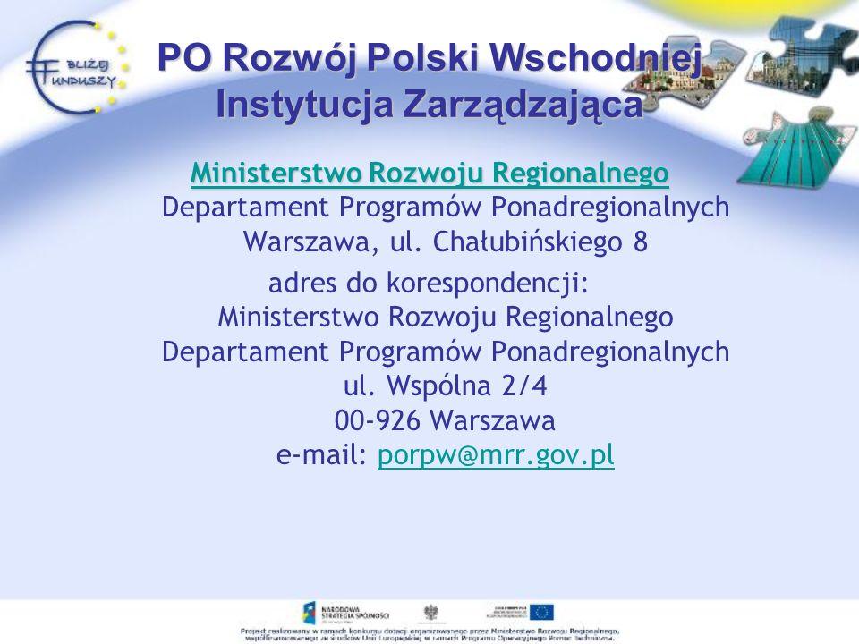 PO Rozwój Polski Wschodniej Instytucja Zarządzająca Ministerstwo Rozwoju Regionalnego Ministerstwo Rozwoju Regionalnego Ministerstwo Rozwoju Regionaln