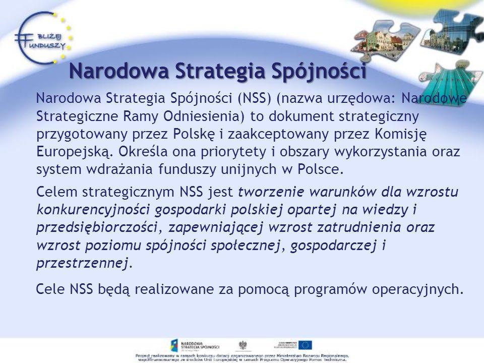 Narodowa Strategia Spójności Narodowa Strategia Spójności (NSS) (nazwa urzędowa: Narodowe Strategiczne Ramy Odniesienia) to dokument strategiczny przy
