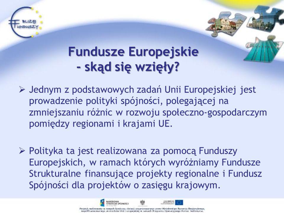 Fundusze Europejskie - skąd się wzięły? Fundusze Europejskie - skąd się wzięły? Jednym z podstawowych zadań Unii Europejskiej jest prowadzenie polityk