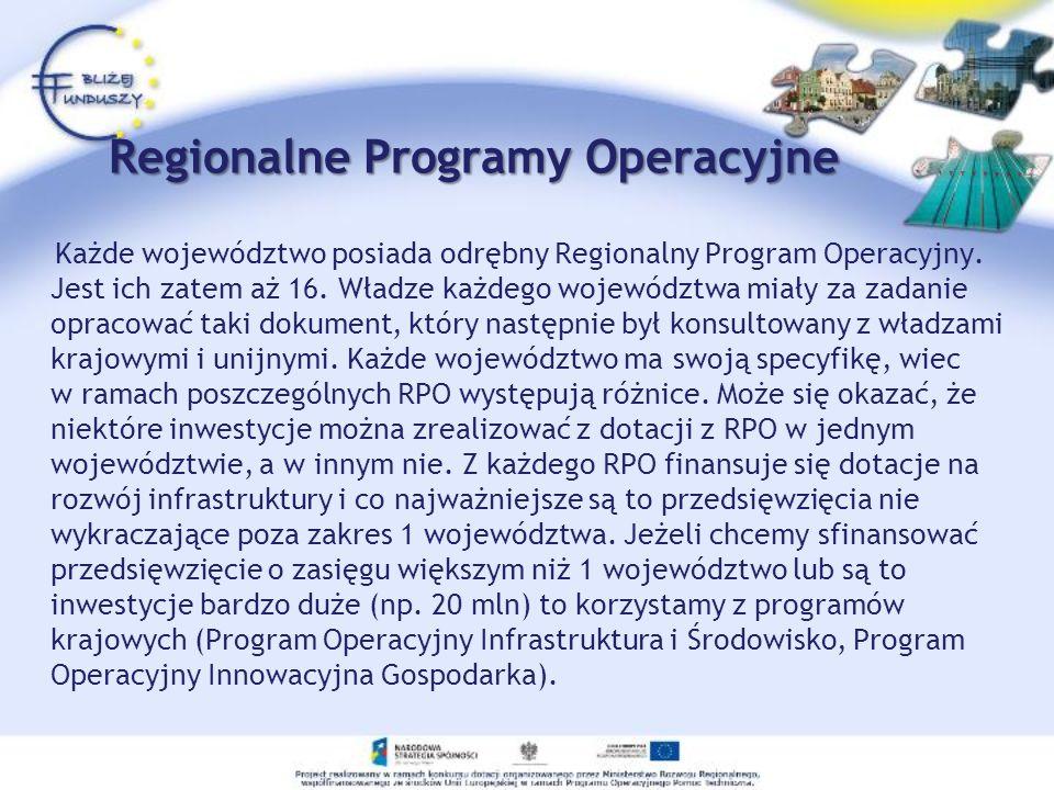 Regionalne Programy Operacyjne Każde województwo posiada odrębny Regionalny Program Operacyjny. Jest ich zatem aż 16. Władze każdego województwa miały