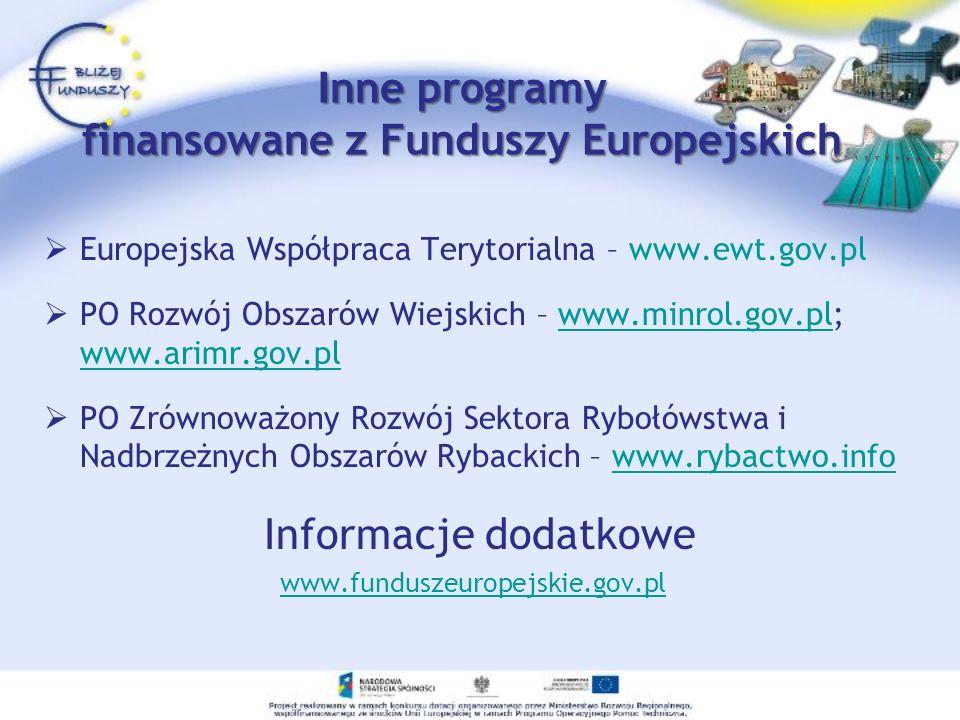 I nne programy finansowane z Funduszy Europejskich Europejska Współpraca Terytorialna – www.ewt.gov.pl PO Rozwój Obszarów Wiejskich – www.minrol.gov.p