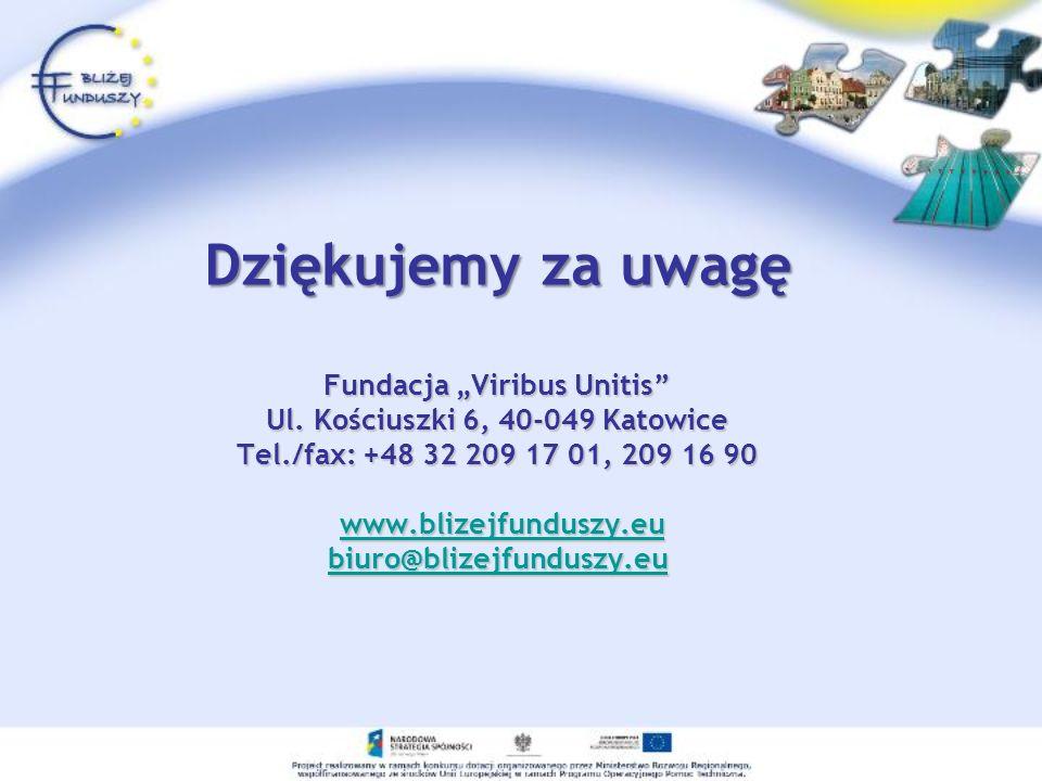 Dziękujemy za uwagę Fundacja Viribus Unitis Ul. Kościuszki 6, 40-049 Katowice Tel./fax: +48 32 209 17 01, 209 16 90 www.blizejfunduszy.eu biuro@blizej