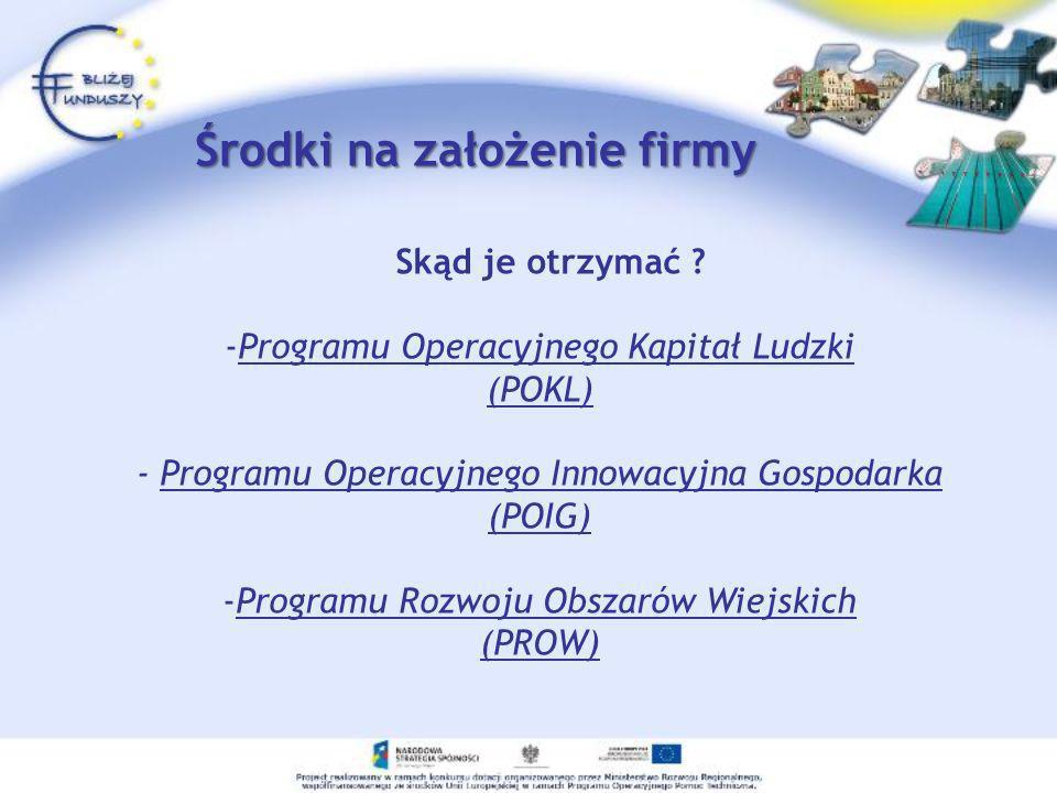 Inne możliwości otrzymania wsparcia na start Program Operacyjny Innowacyjna Gospodarka (Działanie 3.1) Program Rozwoju Obszarów Wiejskich Państwowy Fundusz Rehabilitacji Osób Niepełnosprawnych