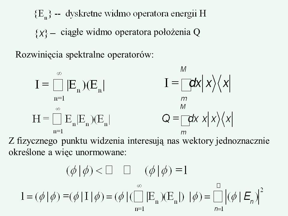 ciągłe widmo operatora położenia Q Rozwinięcia spektralne operatorów: Z fizycznego punktu widzenia interesują nas wektory jednoznacznie określone a wi