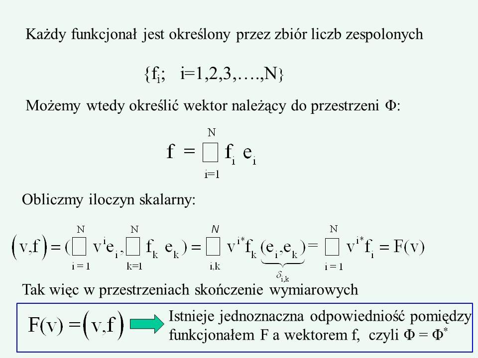 Każdy funkcjonał jest określony przez zbiór liczb zespolonych {f i ; i=1,2,3,….,N } Możemy wtedy określić wektor należący do przestrzeni Φ: Obliczmy i