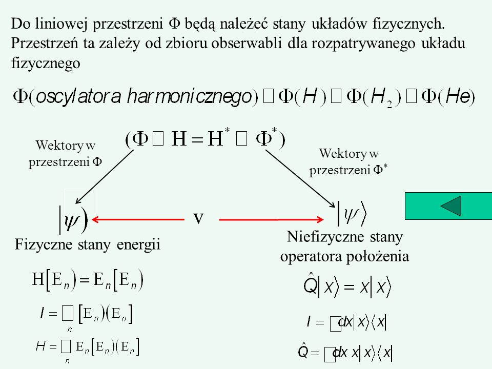 Do liniowej przestrzeni Φ będą należeć stany układów fizycznych. Przestrzeń ta zależy od zbioru obserwabli dla rozpatrywanego układu fizycznego Wektor