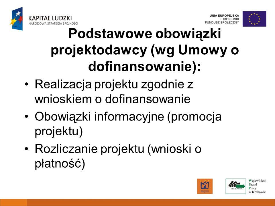 Podstawowe obowiązki projektodawcy (wg Umowy o dofinansowanie): Realizacja projektu zgodnie z wnioskiem o dofinansowanie Obowiązki informacyjne (promocja projektu) Rozliczanie projektu (wnioski o płatność)