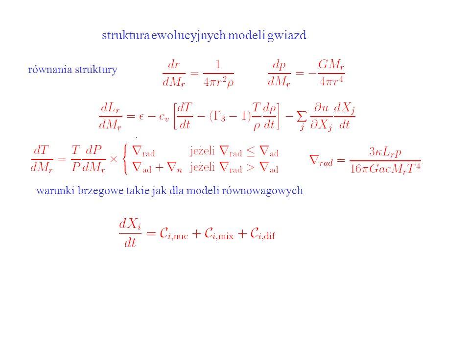 struktura ewolucyjnych modeli gwiazd równania struktury warunki brzegowe takie jak dla modeli równowagowych