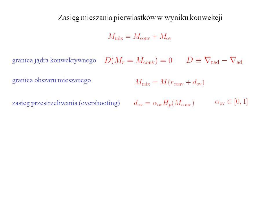 Zasięg mieszania pierwiastków w wyniku konwekcji granica jądra konwektywnego granica obszaru mieszanego zasięg przestrzeliwania (overshooting) zmiany obfitości: