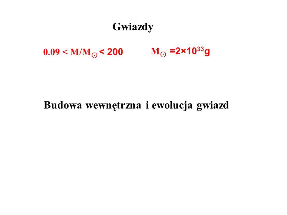 Gwiazdy 0.09 < M/M < 200 M =2×10 33 g Budowa wewnętrzna i ewolucja gwiazd