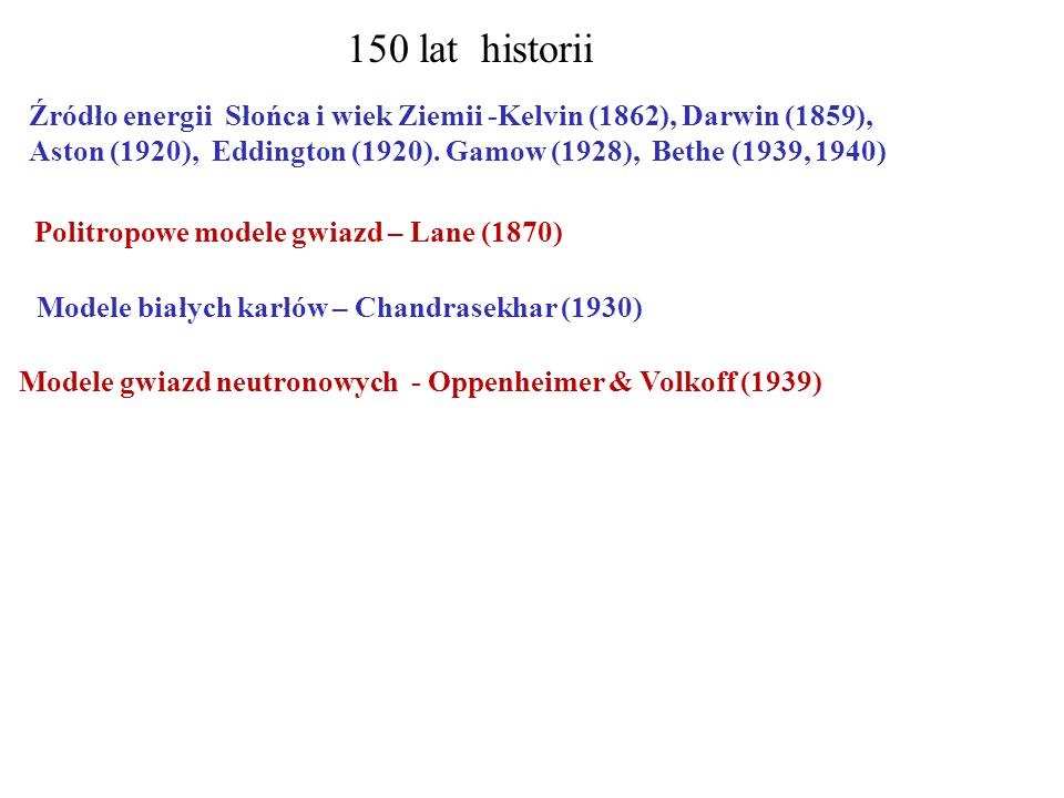 150 lat historii Źródło energii Słońca i wiek Ziemii -Kelvin (1862), Darwin (1859), Aston (1920), Eddington (1920). Gamow (1928), Bethe (1939, 1940) M