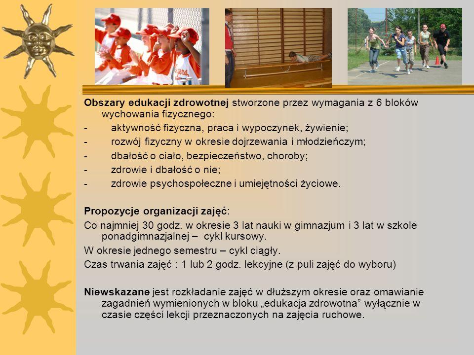 Obszary edukacji zdrowotnej stworzone przez wymagania z 6 bloków wychowania fizycznego: - aktywność fizyczna, praca i wypoczynek, żywienie; - rozwój f