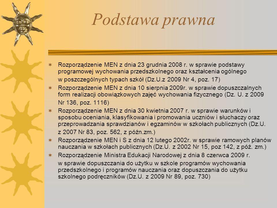 Podstawa prawna Rozporządzenie MEN z dnia 23 grudnia 2008 r. w sprawie podstawy programowej wychowania przedszkolnego oraz kształcenia ogólnego w posz