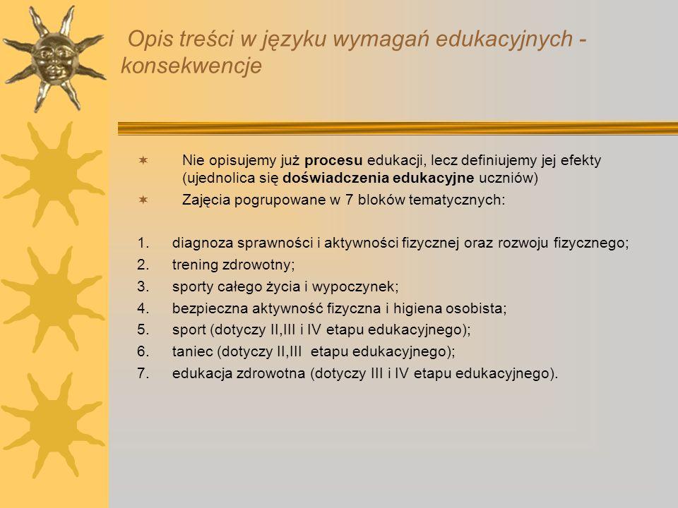 Opis treści w języku wymagań edukacyjnych - konsekwencje Nie opisujemy już procesu edukacji, lecz definiujemy jej efekty (ujednolica się doświadczenia