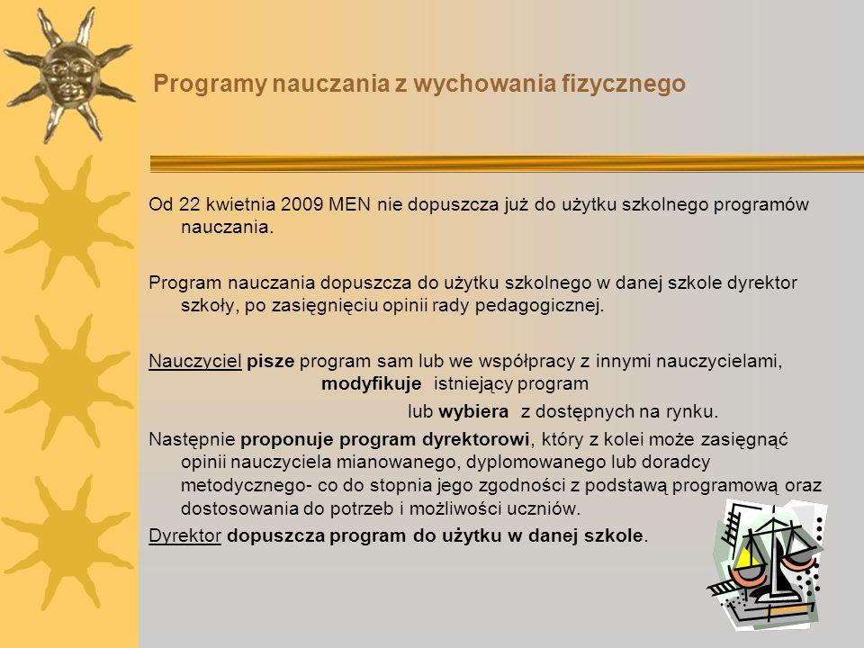 Programy nauczania z wychowania fizycznego Od 22 kwietnia 2009 MEN nie dopuszcza już do użytku szkolnego programów nauczania. Program nauczania dopusz