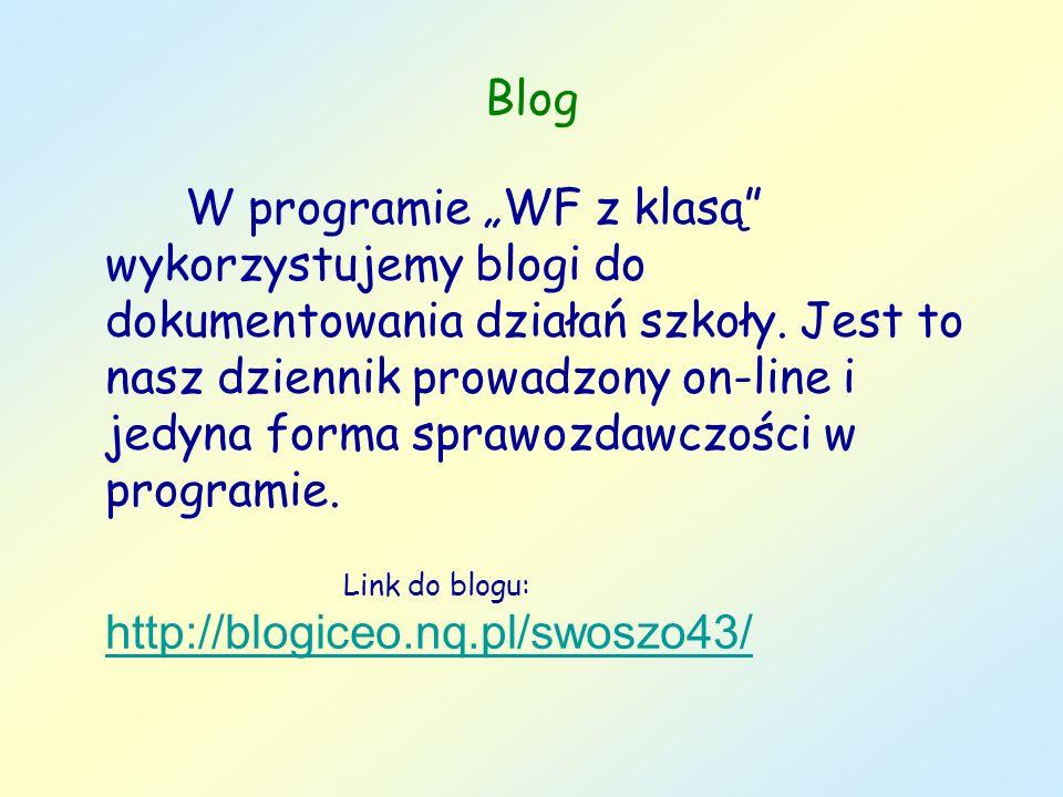Blog W programie WF z klasą wykorzystujemy blogi do dokumentowania działań szkoły. Jest to nasz dziennik prowadzony on-line i jedyna forma sprawozdawc