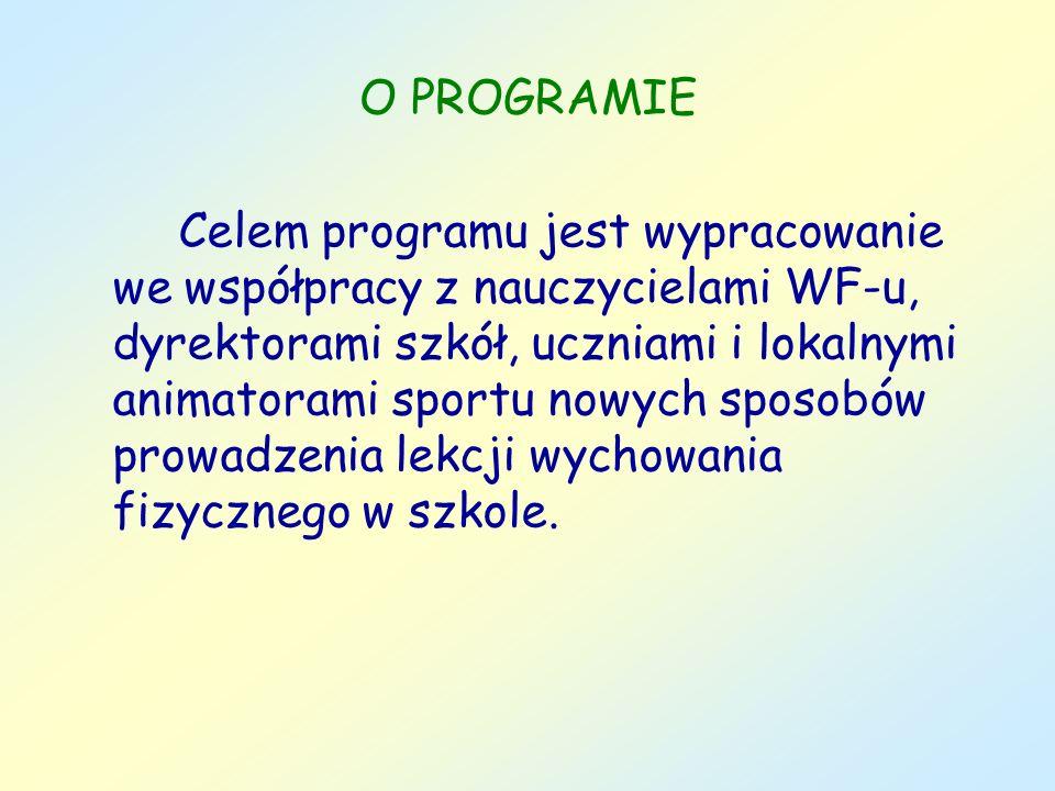 O PROGRAMIE Celem programu jest wypracowanie we współpracy z nauczycielami WF-u, dyrektorami szkół, uczniami i lokalnymi animatorami sportu nowych spo