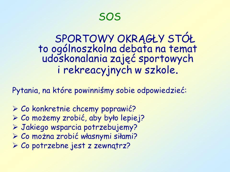 SOS SPORTOWY OKRĄGŁY STÓŁ to ogólnoszkolna debata na temat udoskonalania zajęć sportowych i rekreacyjnych w szkole. Pytania, na które powinniśmy sobie