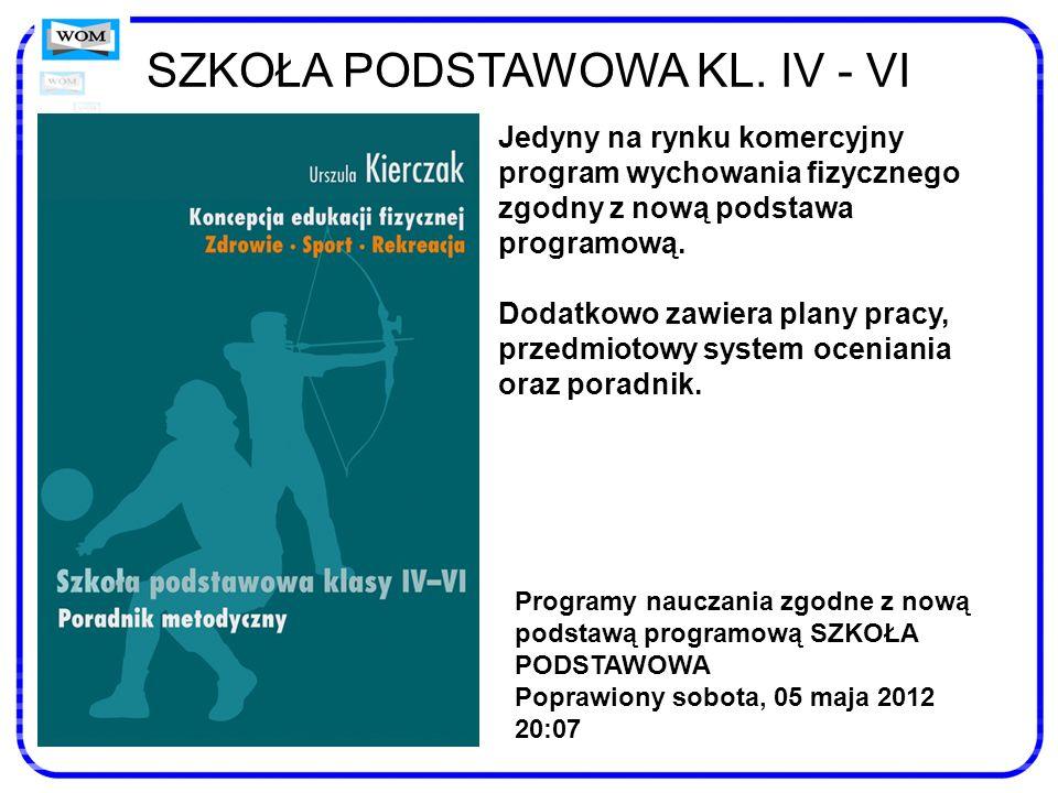SZKOŁA PODSTAWOWA KL. IV - VI Jedyny na rynku komercyjny program wychowania fizycznego zgodny z nową podstawa programową. Dodatkowo zawiera plany prac