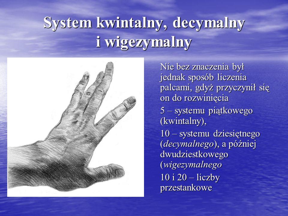 System kwintalny, decymalny i wigezymalny Nie bez znaczenia był jednak sposób liczenia palcami, gdyż przyczynił się on do rozwinięcia 5 – systemu piąt