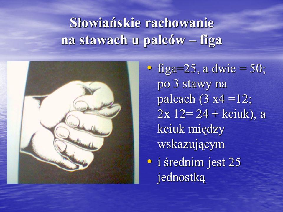 Słowiańskie rachowanie na stawach u palców – figa figa=25, a dwie = 50; po 3 stawy na palcach (3 x4 =12; 2x 12= 24 + kciuk), a kciuk między wskazujący