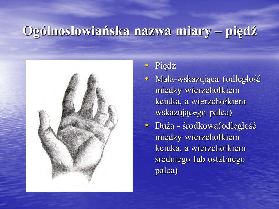 Ogólnosłowiańska nazwa miary – piędź Piędź Piędź Mała-wskazująca (odległość między wierzchołkiem kciuka, a wierzchołkiem wskazującego palca) Mała-wska