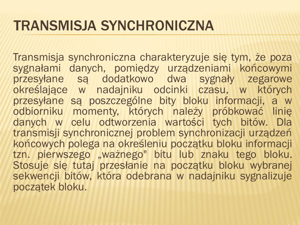 TRANSMISJA SYNCHRONICZNA Transmisja synchroniczna charakteryzuje się tym, że poza sygnałami danych, pomiędzy urządzeniami końcowymi przesyłane są doda